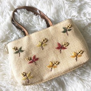 💐 Fossil ❃ Floral Embroider Crossbody Bag ❃ Straw